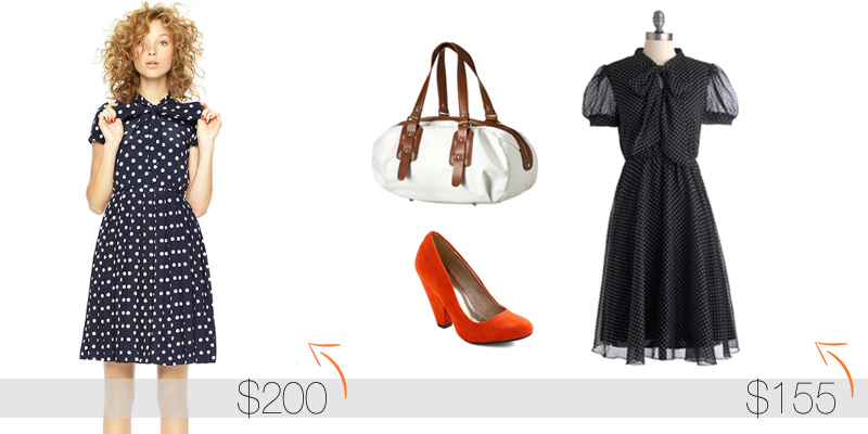 J Crew Bowtie Dress $198, ModCloth Bowtie Dress $75, Orange Heels  $40, Target Satchel $40