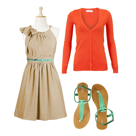Dress ,  Belt ,  Earrings ,  Sandals ,  Cardigan