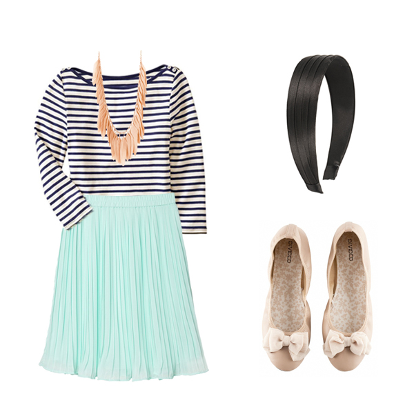 Shirt ,  Skirt ,  Necklace ,  Headband ,  Shoes