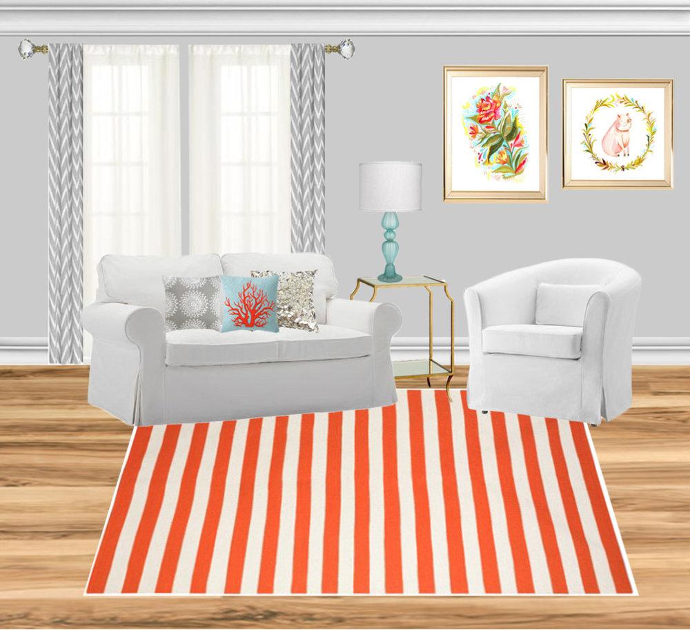 Sofa , Chair , Rug , Table , Lamp , Curtain , Curtain , Art , Pillow , Pillow , Pillow , Floor