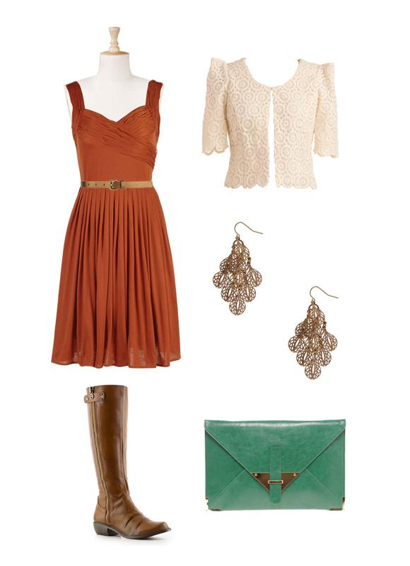 Dress , Jacket , Belt , Earrings , Boots , Clutch