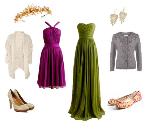 Pink Dress,Heels,Cream Cardi,Tiara,Green Dress,Flats,Grey Cardi,Earrings