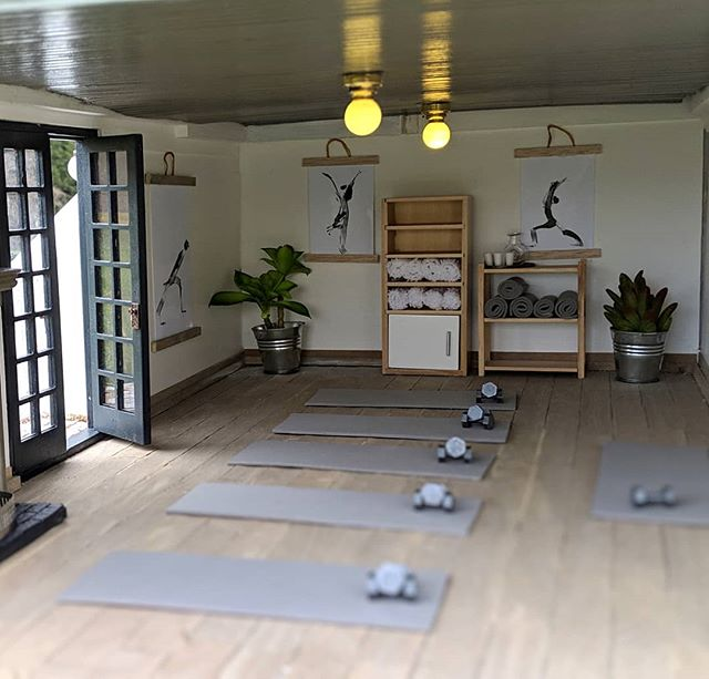 """Yoga studio! I made this little exercise space in the """"walk out basement"""" level I added to the #creatincontest kit this year. My favorite part is the tiny weights that my friend 3-d printed for me!"""