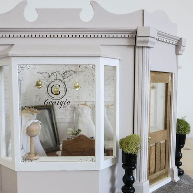 "One of my earlier projects (6 years ago?) was this miniature bridal shop! 👰♥️ I imagined it to be in Georgetown, Washington DC. So I named it ""Georgie"" and wrote a whole little back story about how it came to be. I still love Georgie, and now that we moved to the big farm, I think I will have room to dust her off and out her on display!"