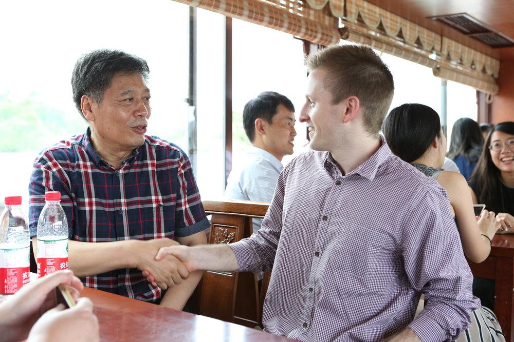 With Zhejiang University's Professor Xiaofeng Yu (余潇枫), Xiang Lake, Hangzhou, Zhejiang, PRC, July 2016