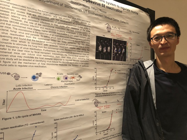 Christina and Guoxun present their posters at the 2018 Immunology Retreat.