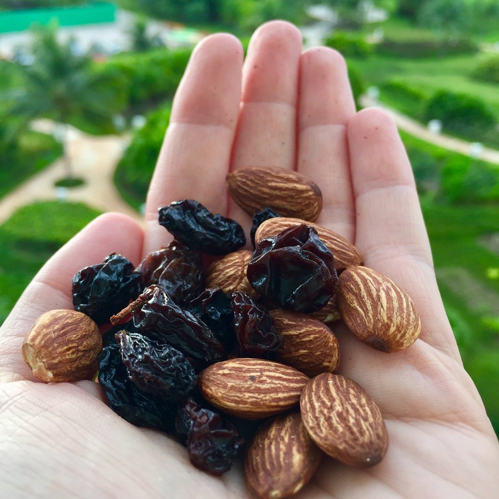 Alkaline raisins and protein and vitamin packed almonds for a pre-breakfast snack!