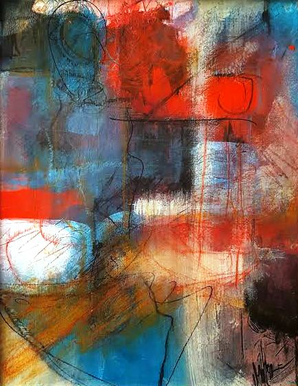 """Red White & Blue All Over  11""""X 14""""  Mixed Media"""