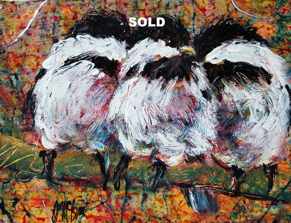 Three Chickadees   8X10