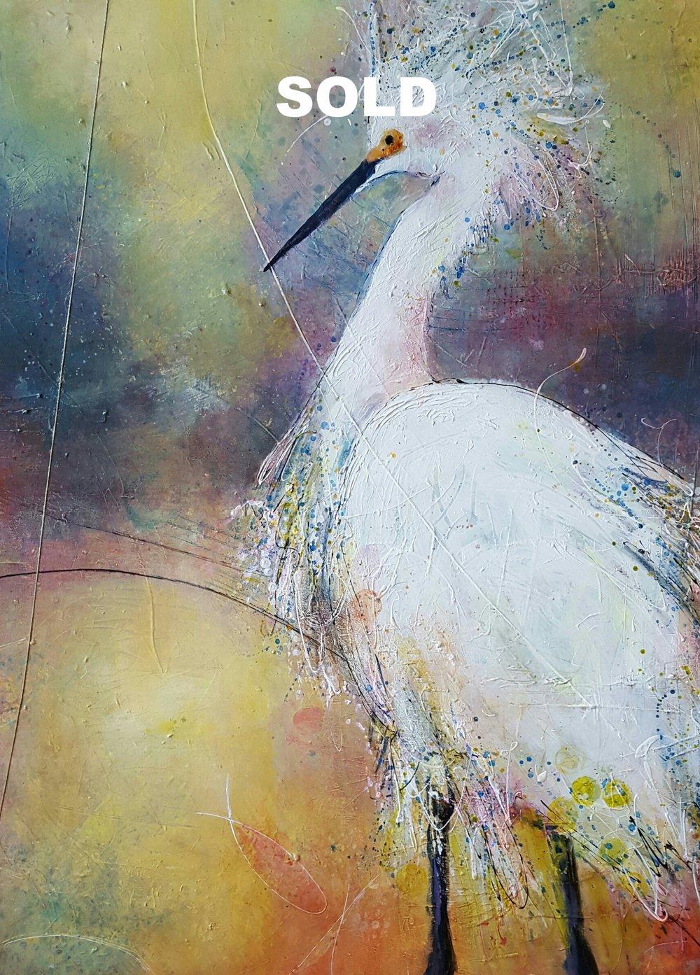 "Snowy Egret    30""X 40""  Acrylic on Canvas"