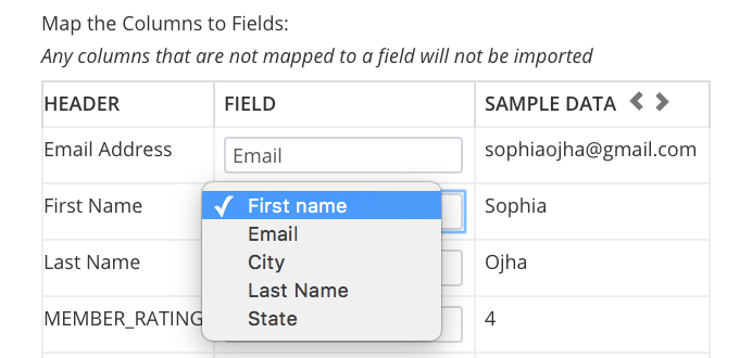 Select the First Name field