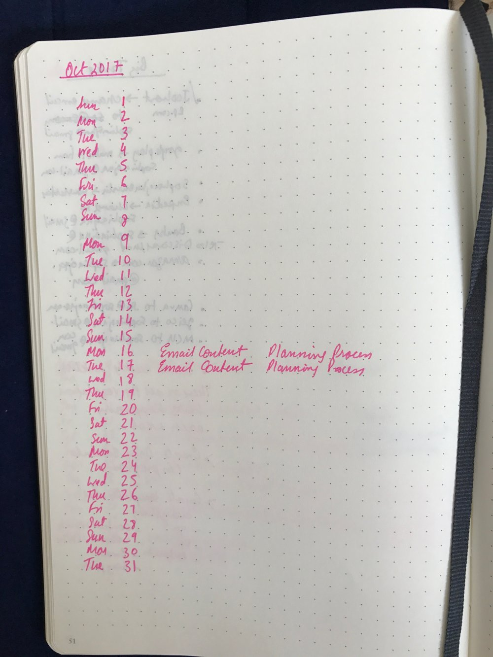 This is a page from my Bullet Journal where you can see my two Email Content Planning Days: Oct 16th and 17th.