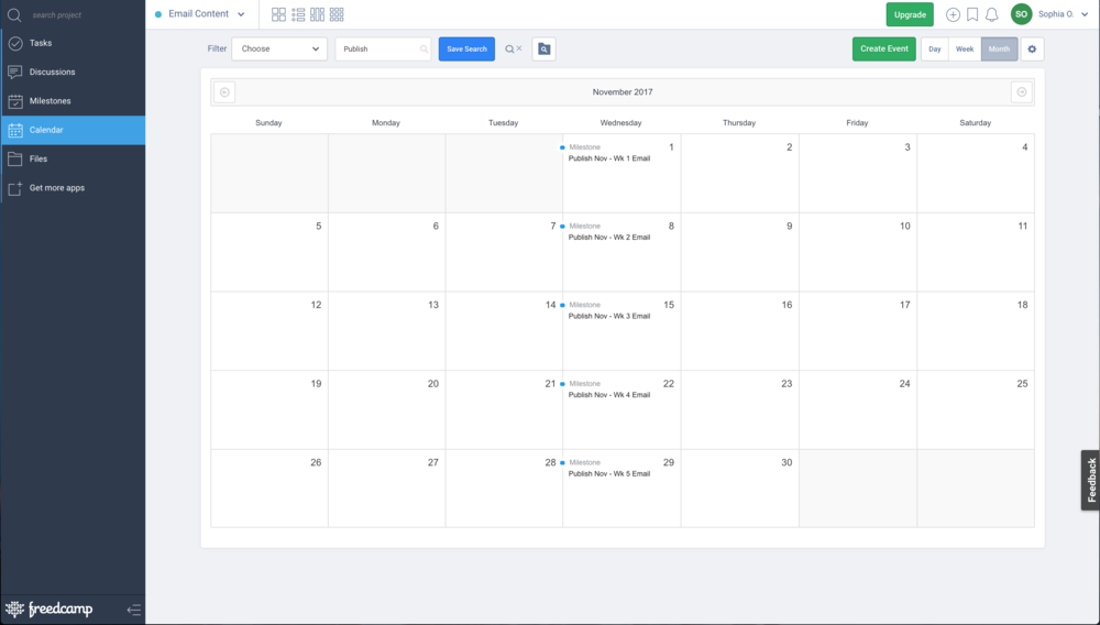 This the view of my Email Content Creation Calendar in Freedcamp
