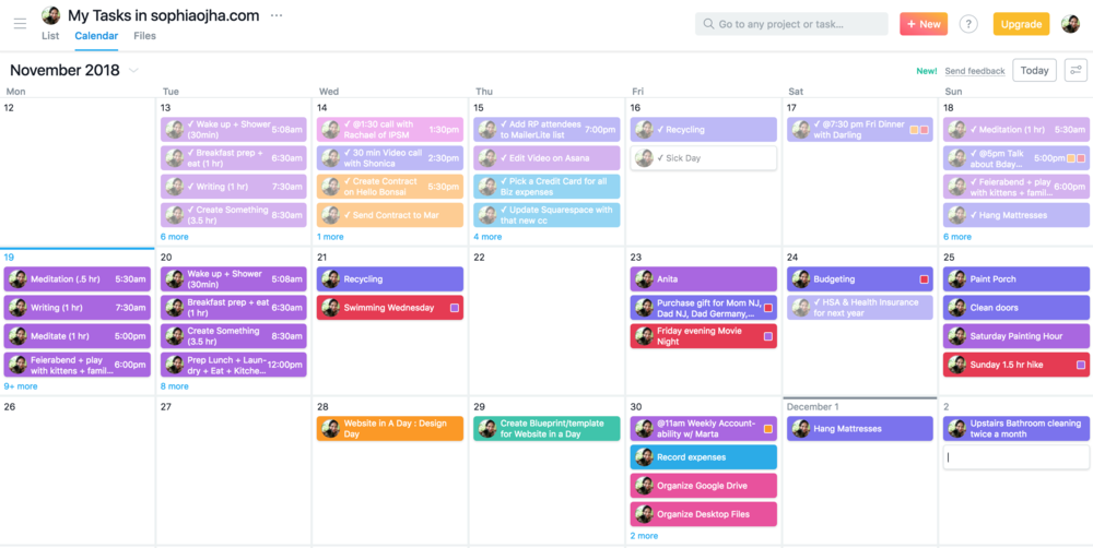Calendar View in Asana of My tasks