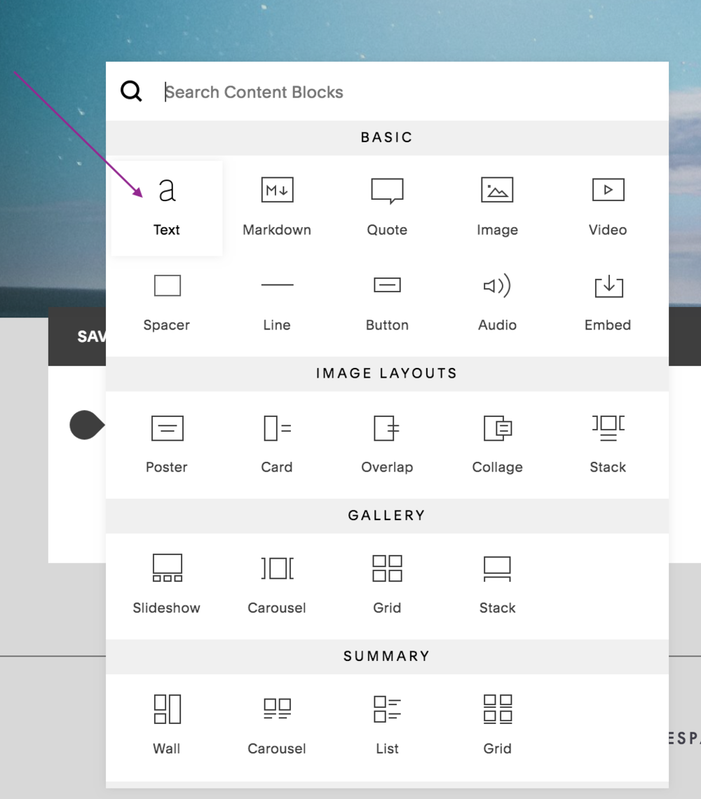 select the text content block in the body of the page