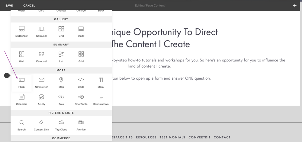 selecting the form block on squarespace