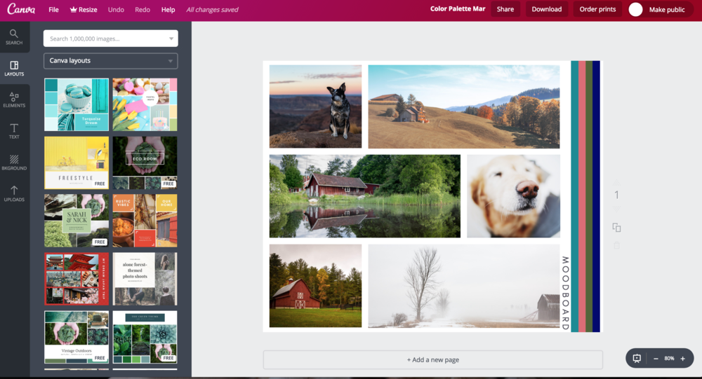 Source: Moodboard I created on Canva.com for a recent client. This is a screenshot of my Canva account.