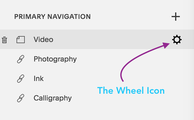 The Wheel icon for page settings in Squarespace