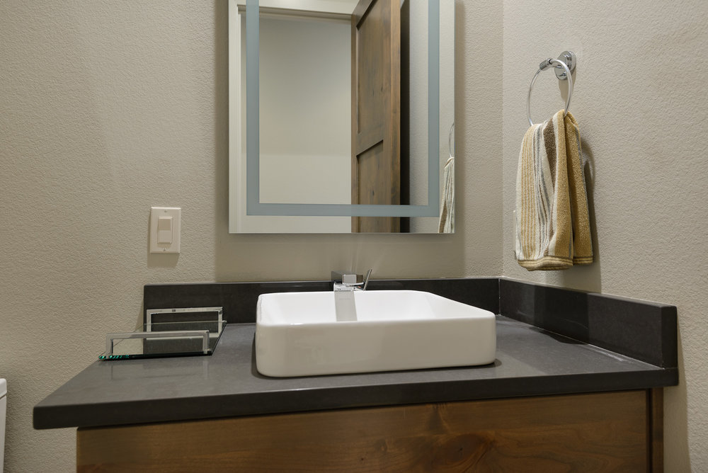 Milepost 1 Model Home powder room sink