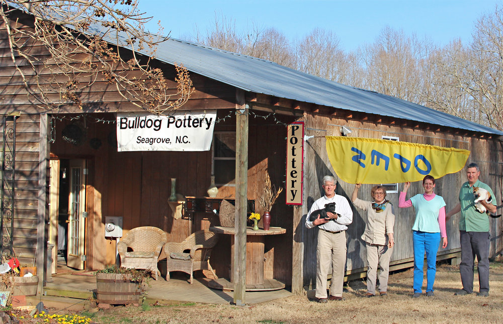 Visit us our Contemporary Seagrove pottery in Seagrove, North Carolina. We named Bulldog Pottery in honor of our canine companions,