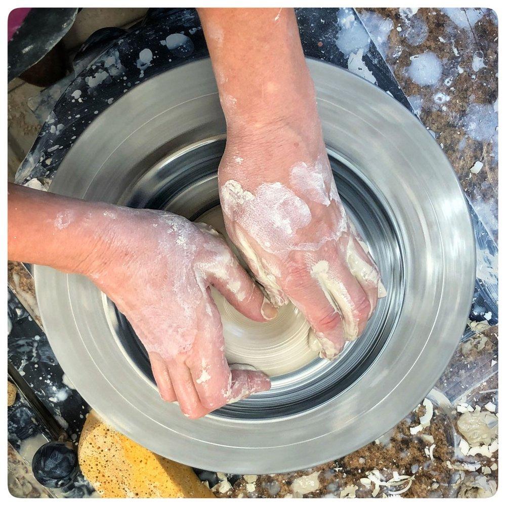 Samantha Henneke Centering the Clay, Bulldog Pottery, Seagrove, North Carolina