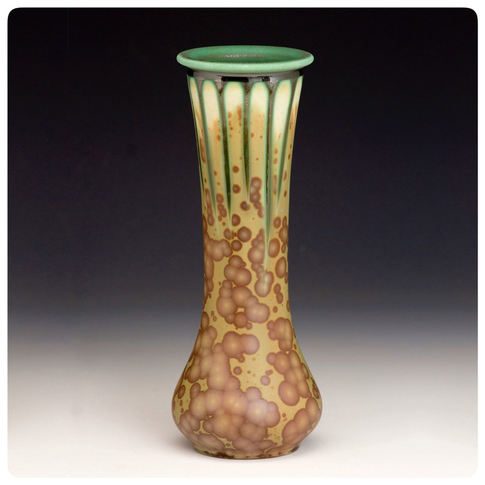 Molybdenum matte olive green crystalline vase made by Samantha Henneke | Bulldog Pottery | Seagrove | North Carolina