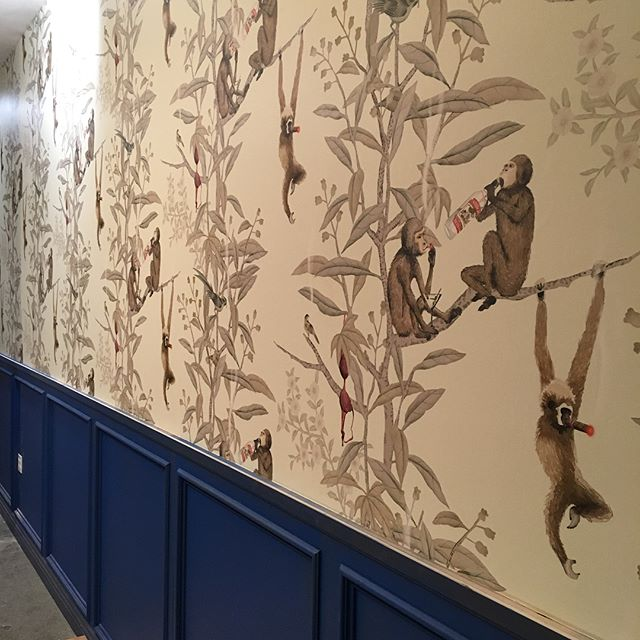 Added some monkey business to this man cave. #mancave #wallpaper #interiordesign