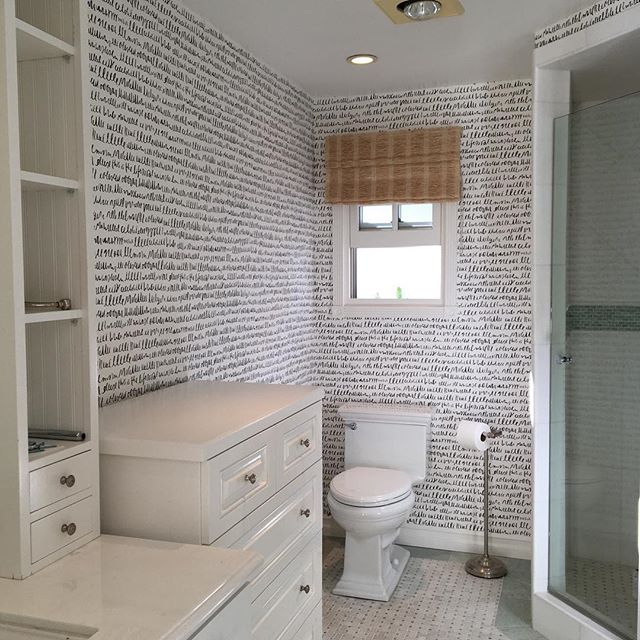 One of this week's installs - a powder room makeover/tribute to @katespadeny with one of her wallpaper designs from @kravetinc. May we hold onto our loved ones while they shine and bask in the afterglow of having loved when they depart. #interiordesign #rip #delmar #wallpaperdecor @wallcoveringinstallers