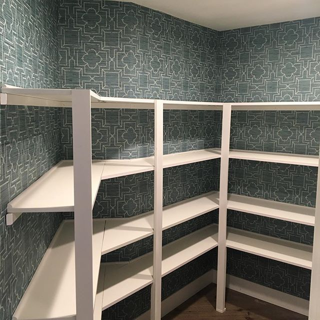 Wallpaper in the pantry? CHECK! Have a great weekend all. #wallpaper #interiordesign #kitchendesign #pantryorganization