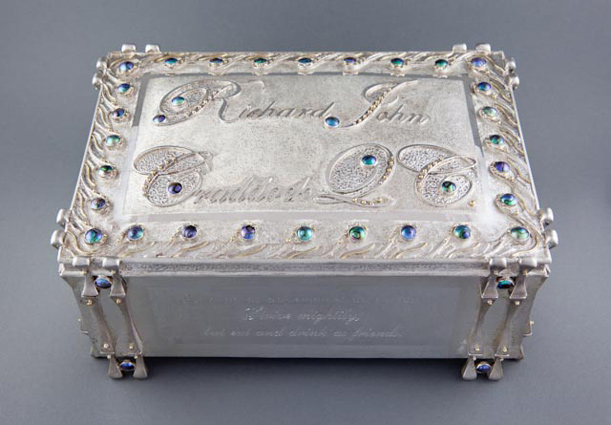 ROAKE SILVER - Retirement Chest - Constructed sterling silver, 18ct gold, Pacific Blue 7mm C grade blue pearls.