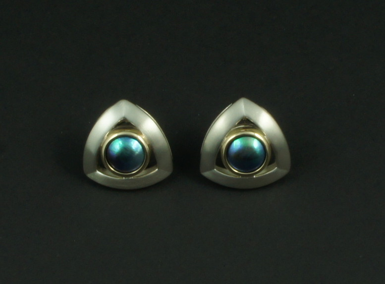 SHERRINGTON'S Triangular Silver & 9ct Earrings, Pacific Blue 'B' grade pearl