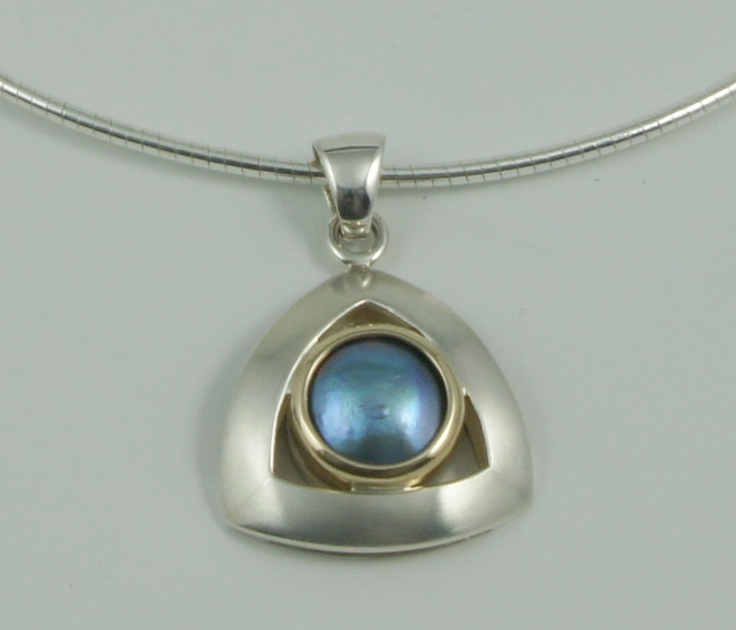 SHERRINGTON'S Triangular Silver & 9ct Pendant, Pacific Blue 'B' grade pearl