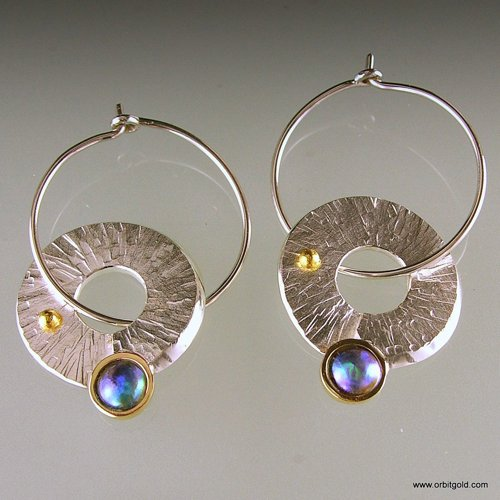 ORBIT - CIRCLES Pacific Blue Pearl Earrings