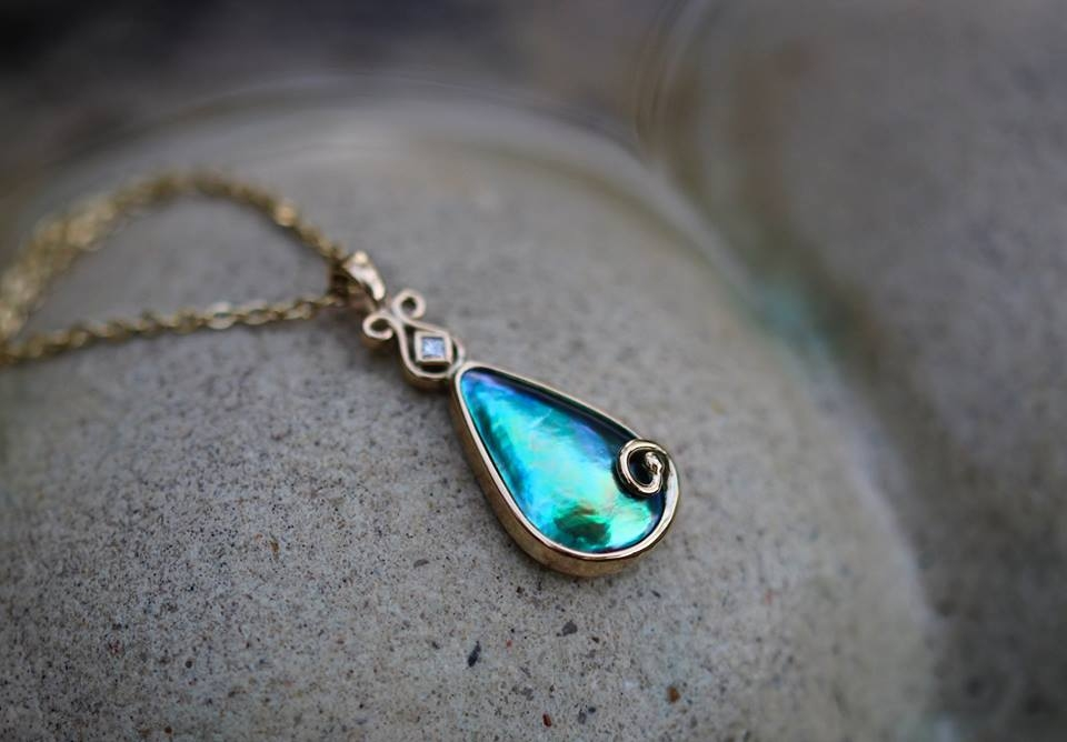 MARK COX - Pacific Blue 'Mystique' grade teardrop pendant