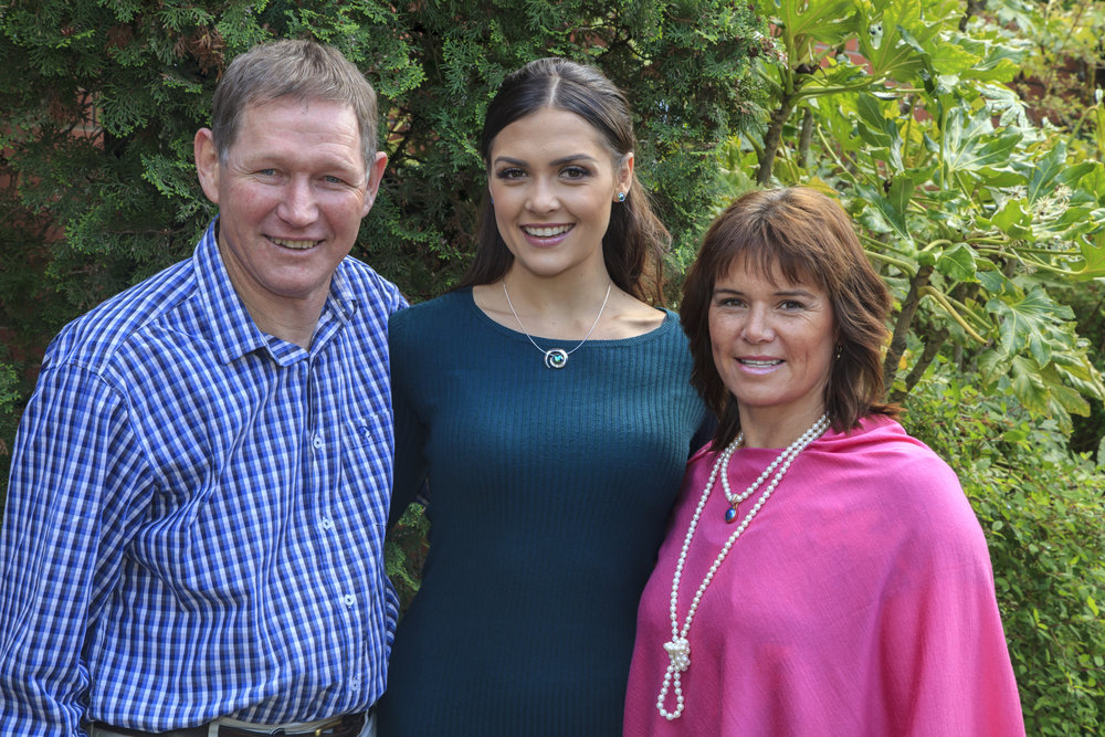 Roger Beattie- Company Director. Karla de Beer - Miss World New Zealnd. Sharlene Wiseman - Pearl Manager