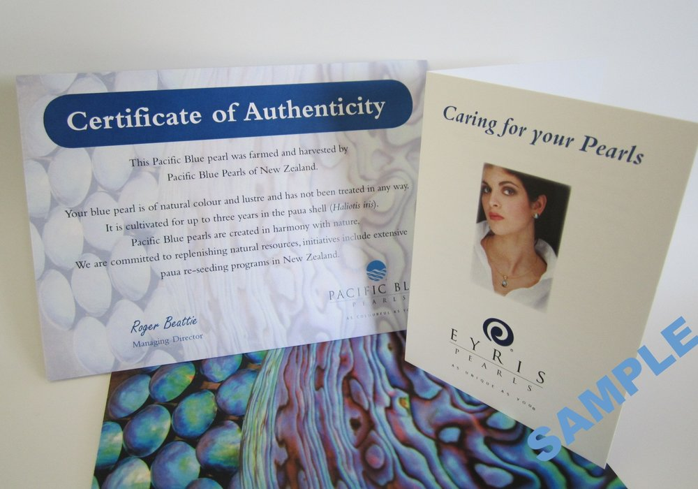 Certificate of Authenticity and pearl care card received when a Pacific Blue 'B' grade pearl is purchased.
