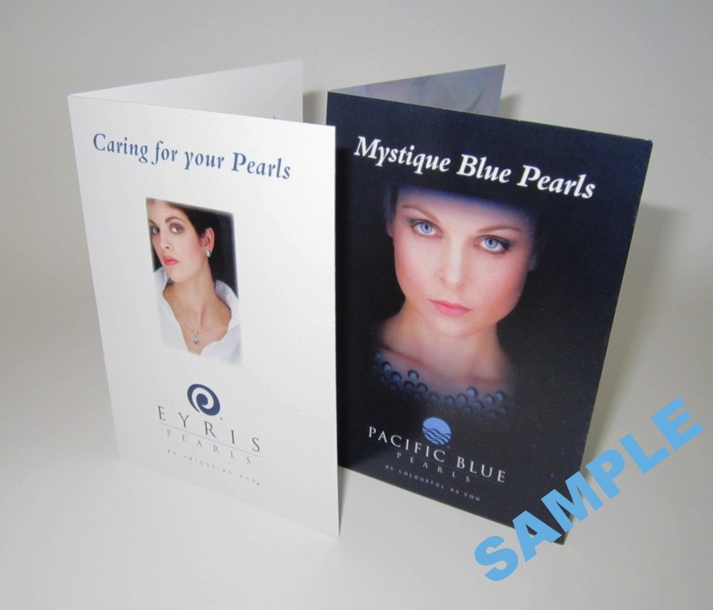 Pearl care card and Mystique card received when a Pacific Blue 'Mystique' grade pearl is purchased.