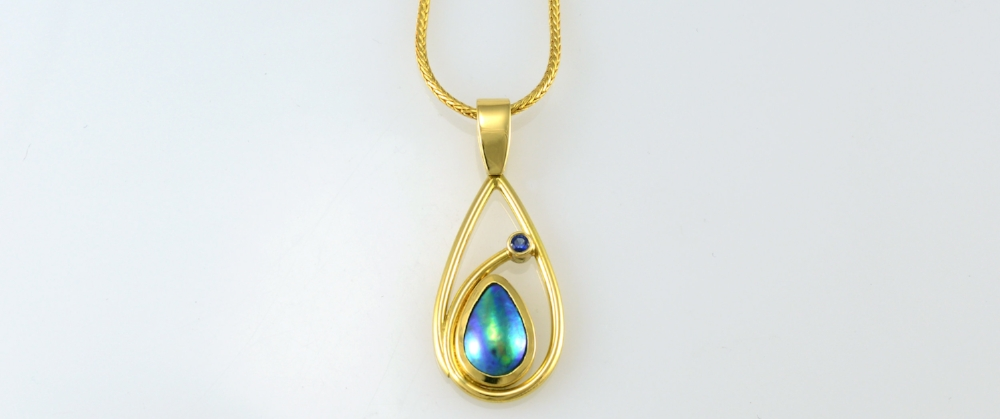 JEWEL BEETLE - Pacific Blue Pearl Teardrop Pendant