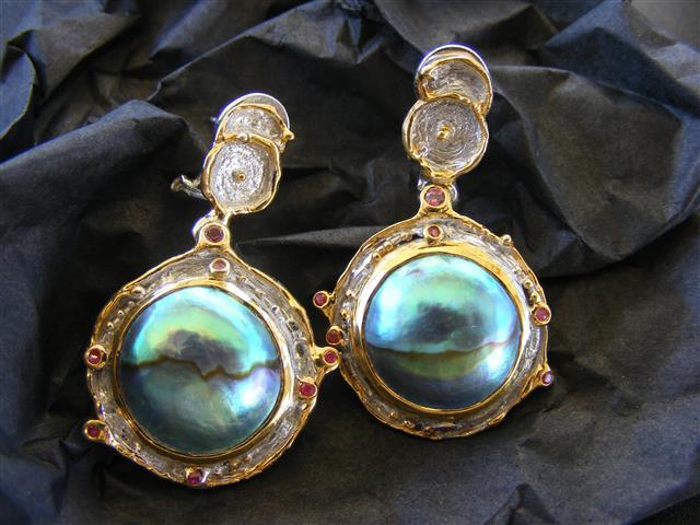 DENISE K - Mystique Blue Pearl Earings