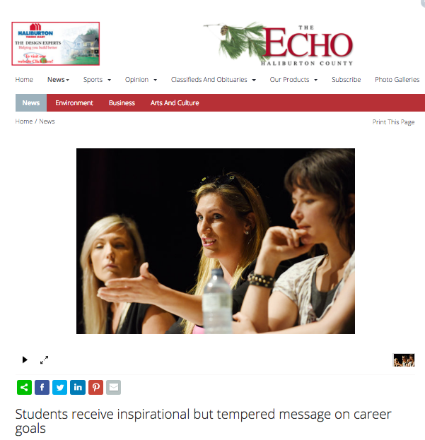 "Haliburton Echo Newspaper - Robinson said she gave up the ""nine to five"" job, which never fulfilled her the way her independent work life has. She is passionate about helping companies market themselves using the ever-advancing technology such as Snapchat. Motivated by her passion, she told the students,"