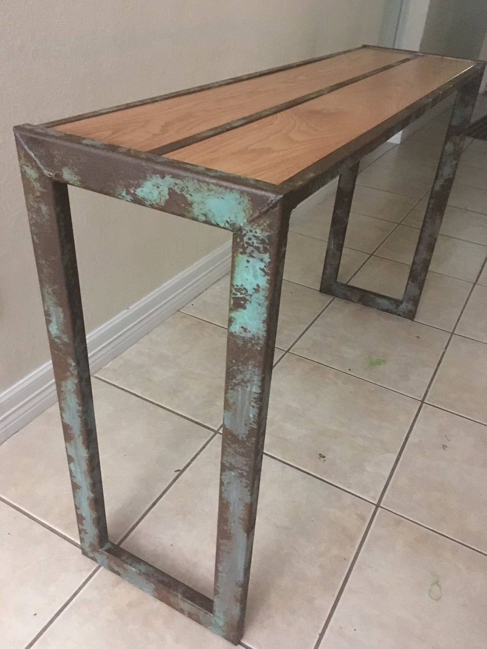 Sofa table texas creative spaces this sofa table is a simple and elegant rustic designed to fit that perfect spot in need of an accent shown here with the blue patina and rust geotapseo Image collections
