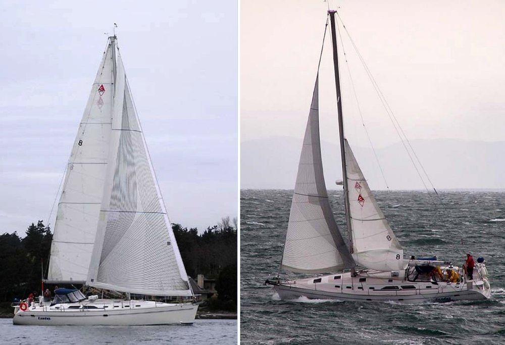 Shown above are two photos of the Catalina 42 EXODUS. On the left is his Carbon Tape-Drive Passagemaker shown fully unrolled. On the right, it shows the same sail reduced in size for heavy weather sailing.