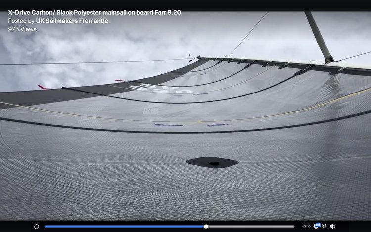 Här är en video på ett X-Drive Carbon storsegel. X-Drive tejperna ligger på en svart polyesterlaminatduk.