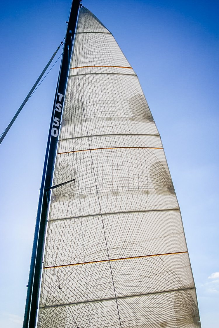 A single-sided taffeta Tape-Drive full batten mainsail for a 50-foot catamaran.