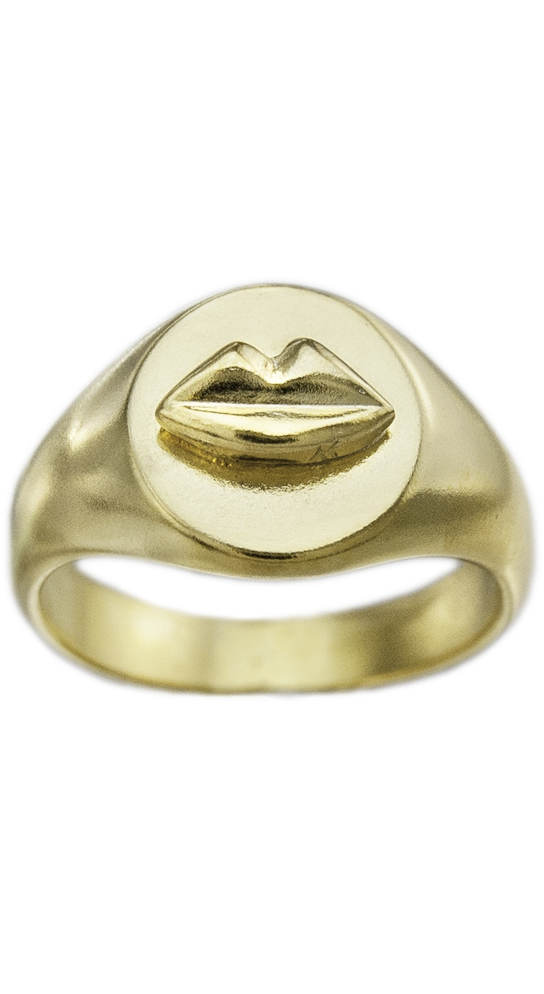 Ring Signet Gold Kiss