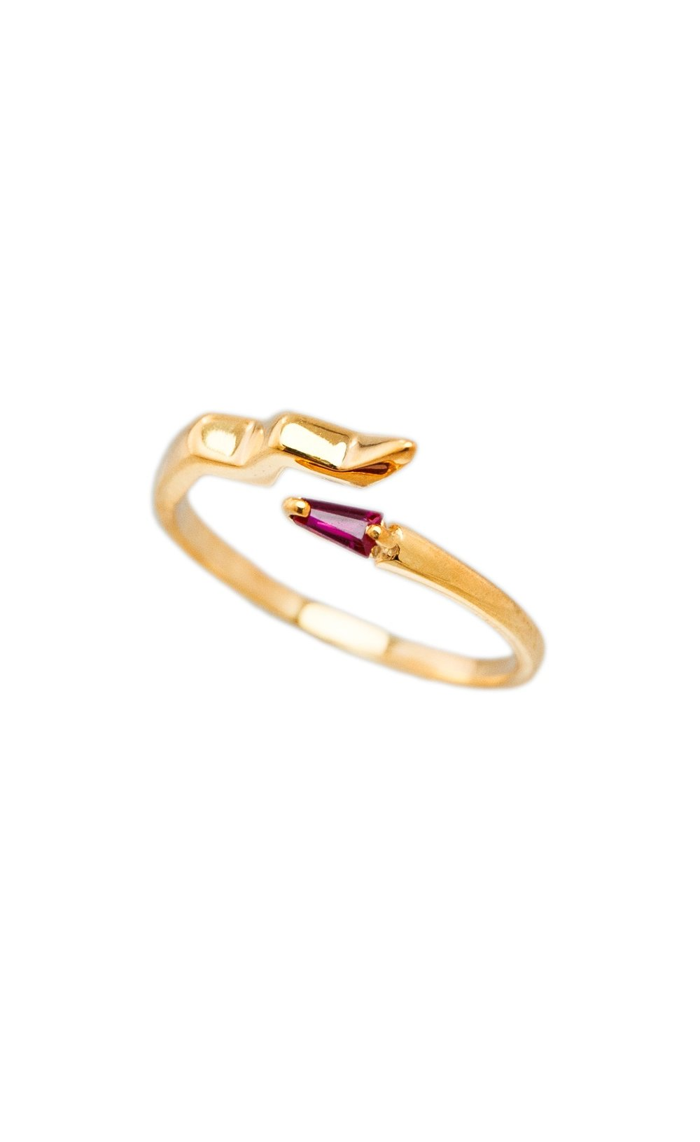 Gold Open Ring Snake With Ruby