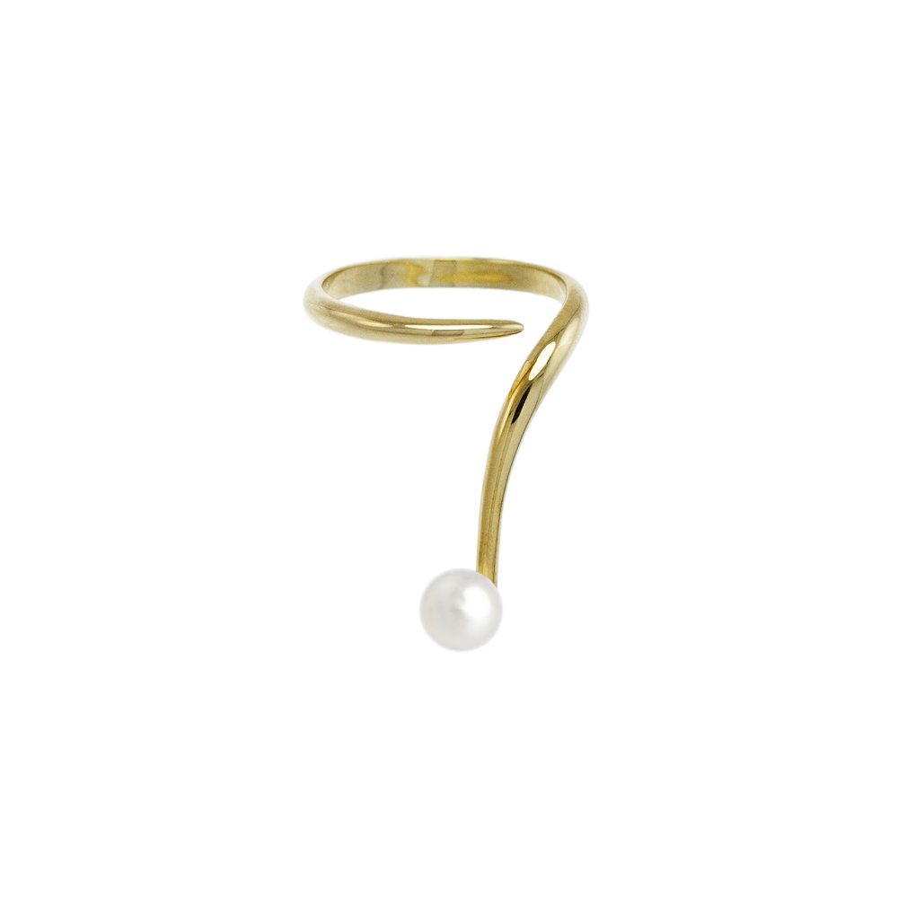 Gold Open Ring French Kiss With Pearl