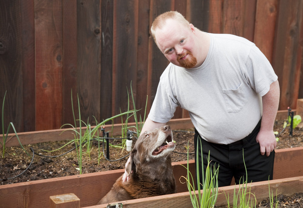 Person standing in between raised garden beds, looking at camera and petting a brown dog