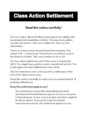 "First page of the ""Class Action Settlement"" notice"