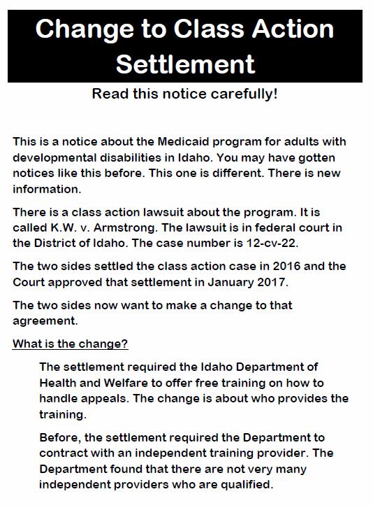 Settlement Agreement change notice